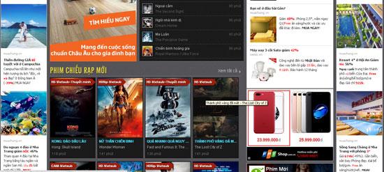 Quảng cáo của FPT Shop xuất hiện trên trang phim lậu phimmoi.net. Ảnh chụp sáng 3/7/2017.