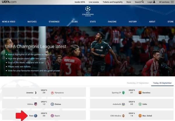 Trong trang chủ Champions League là uefa.com/uefachampionsleague (vào đây) chúng ta có thể tìm chọn ngay trận đấu sắp diễn ra, và chờ khoảng 5-10 phút trước giờ thi đấu sẽ có luồng phát trực tiếp.