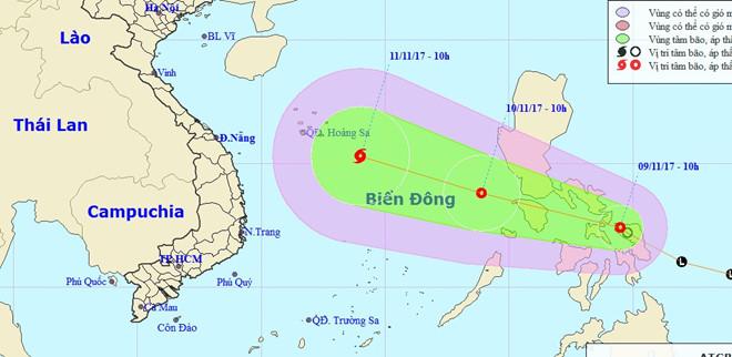 Áp thấp nhiệt đới có thể mạnh lên thành bão sau khi vào Biển Đông.
