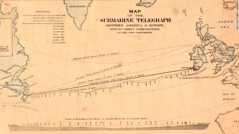 Tuyến cáp điện tín đầu tiên nối giữa châu Âu và Bắc Mỹ hoàn thành vào năm 1958. Ảnh: CNN.